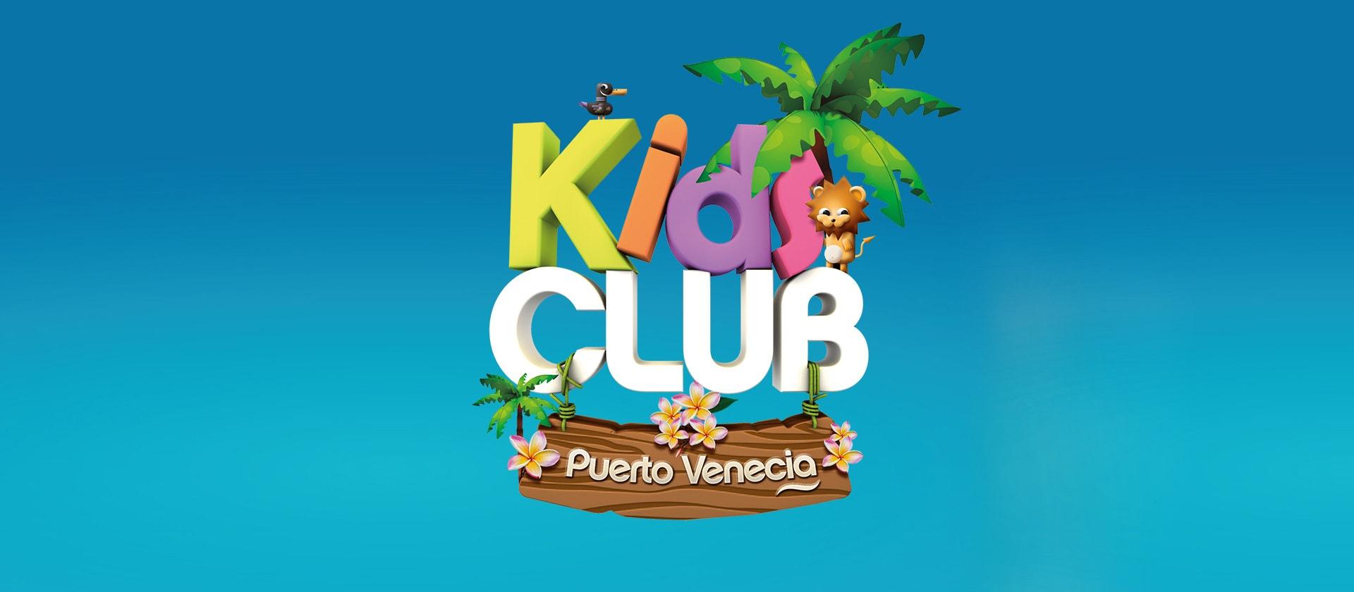 Creación, diseño gráfico e ilustración de personajes Kids Club Puerto Venecia