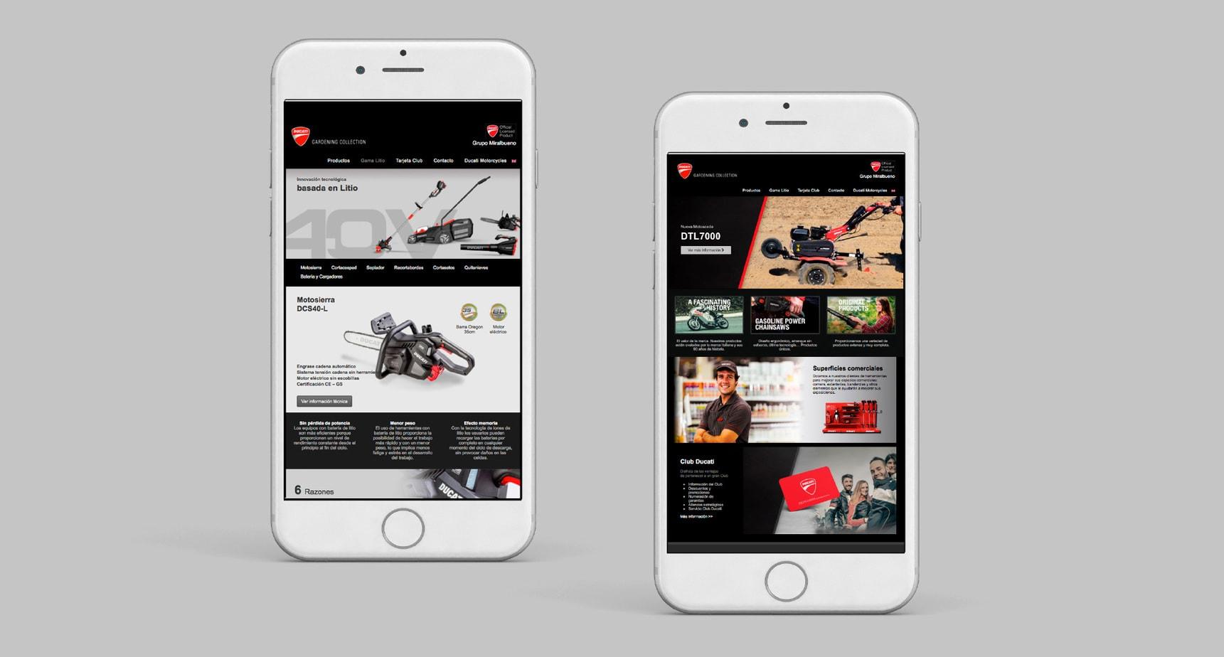 Diseño de aplicación móvil para Ducati Garden. Grupo Miralbueno